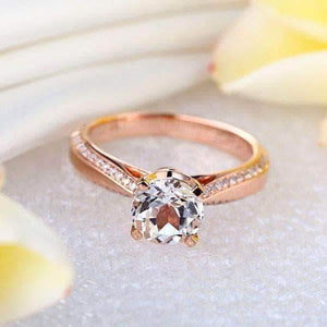 Rose Gold 1.2 Ct Topaz 0.2 Ct Natural Diamond Engagement Ring (502640967715)