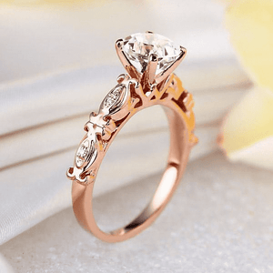 Gold rings | 14K Rose Gold Vintage 1.2 Ct Topaz & Natural Diamond Ring (10467955538)