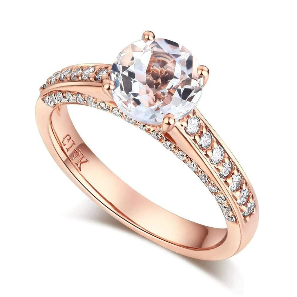 14K Rose Gold 1.2 Ct Topaz 0.42 Ct Diamonds Engagement Ring - mewe-jewelry.com