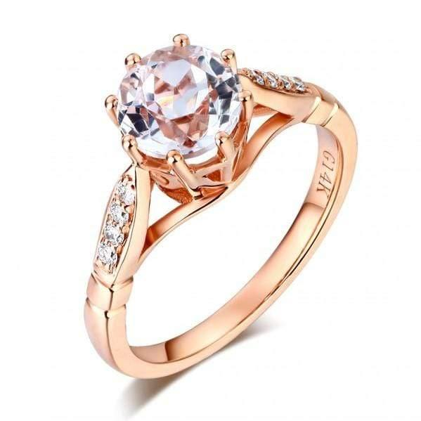 14K Rose Gold Topaz Natural Diamonds Ring