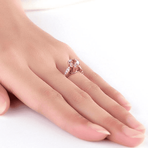 Gold rings | 14K Rose Gold 1.2 Ct Topaz 0.1 Ct Natural Diamonds Ring (10468807954)