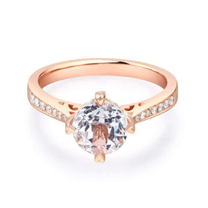 Gold rings - Gold 1.2 Ct Topaz & Natural Diamonds Engagement