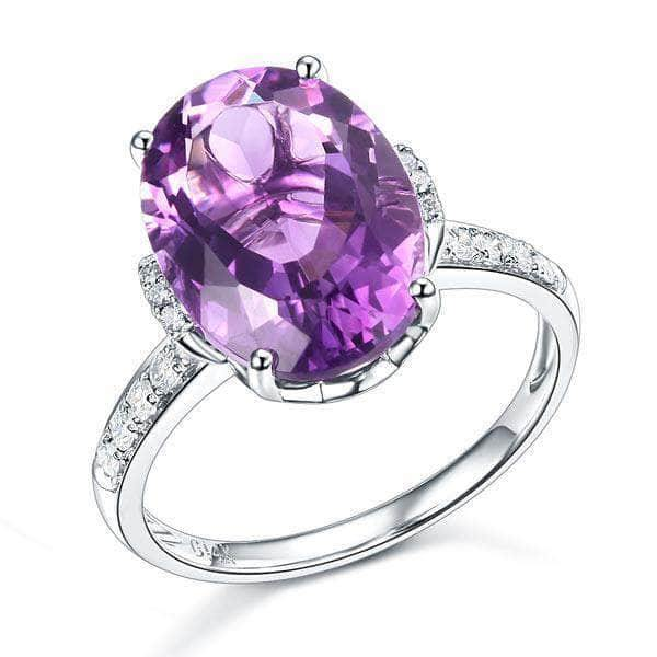 White Gold 5.75 Ct Oval Purple Amethyst Natural Diamond Ring - mewe-jewelry.com