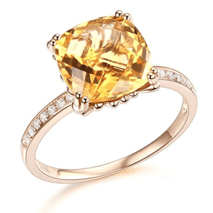 Gold rings | 14K Rose Gold Yellow 3.6 Ct Cushion Citrine Diamond Ring (10271644818)
