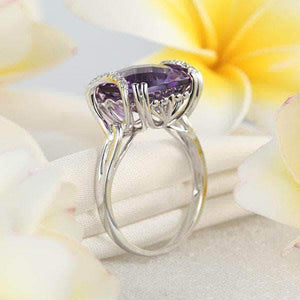 14K White Gold 6.4 Ct Cushion Purple Amethyst Diamond Ring