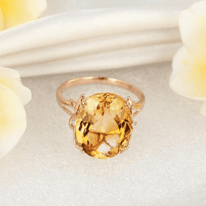 Gold rings | 14K Rose Gold 8.2 Ct Oval Yellow Citrine Diamond Ring (10466992210)
