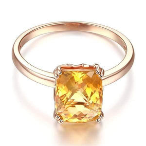 14K Rose Gold Yellow Citrine Ring