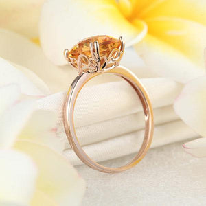 14K White Gold Yellow Citrine Ring