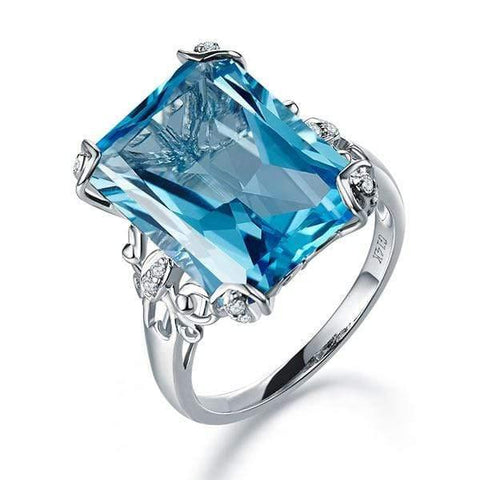 Gold rings | 14K White Gold 13 Ct Swiss Blue Topaz Diamond Ring - mewe-jewelry.com