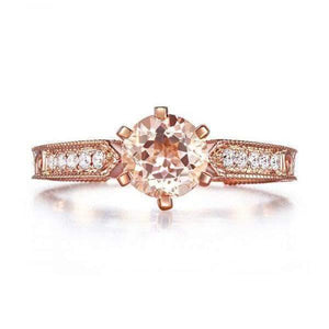 Rings - Gold Peach Morganite Diamonds Vintage Style Engagement Ring