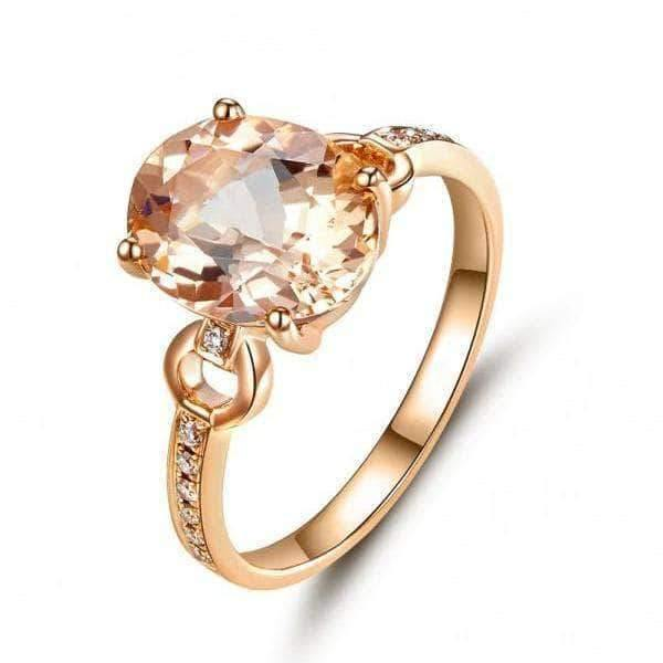 14K Rose Gold 3.5 Ct Oval Peach Morganite Natural Diamond Ring - mewe-jewelry.com