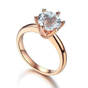 Rose Gold Ring 14K Rose Gold 2 Ct Topaz 6 Claws