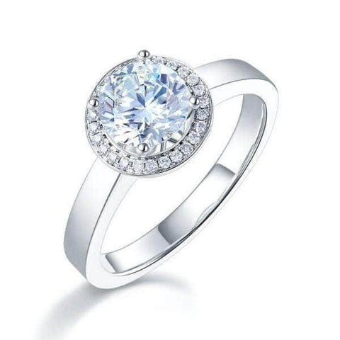 White Gold Forever One Moissanite Diamond Halo Engagement Ring - mewe-jewelry.com