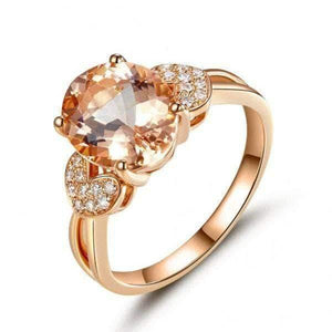 Rose Gold 3.5 Ct Oval Peach Morganite & Natural Diamond Ring