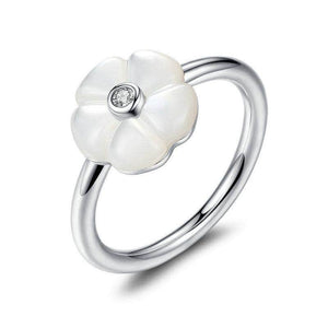 Silver Ring-White Flower Mother-Of-Pearl Ring