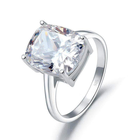 Silver Ring |  Sterling Silver 6 Carat Solitaire Ring - mewe-jewelry.com
