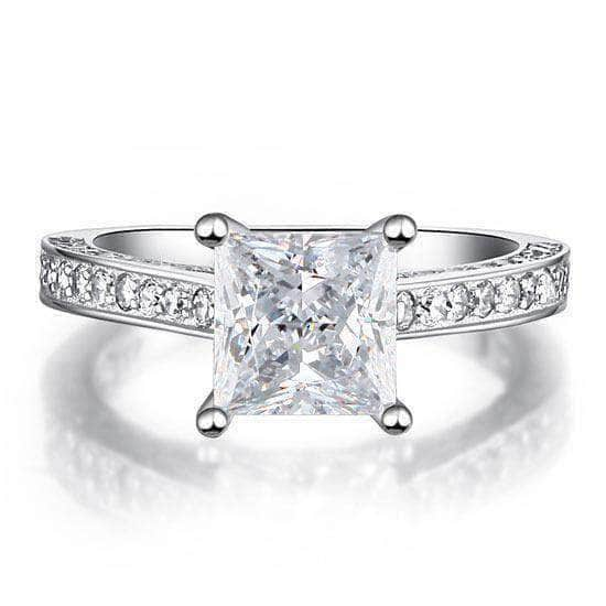 Silver Rings | Silver 1.5 Carat Princess Cut Clear stoned Ring - mewe-jewelry.com