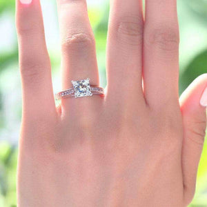 Silver Rings | Silver 1.5 Carat Princess Cut Clear stoned Ring