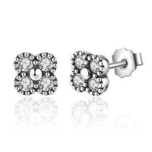 Silver Earrings |  Silver White cubic Flower (9634841170)