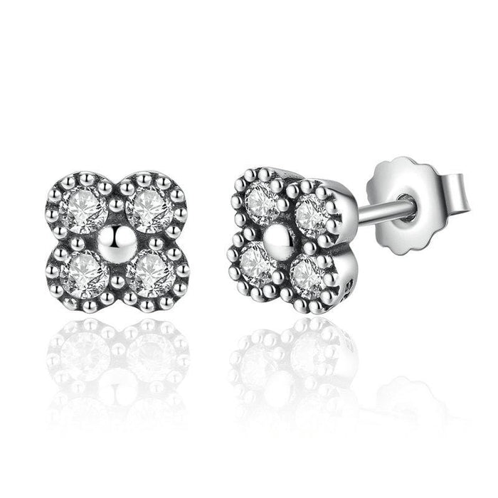 Silver Earrings |  Silver White cubic Flower