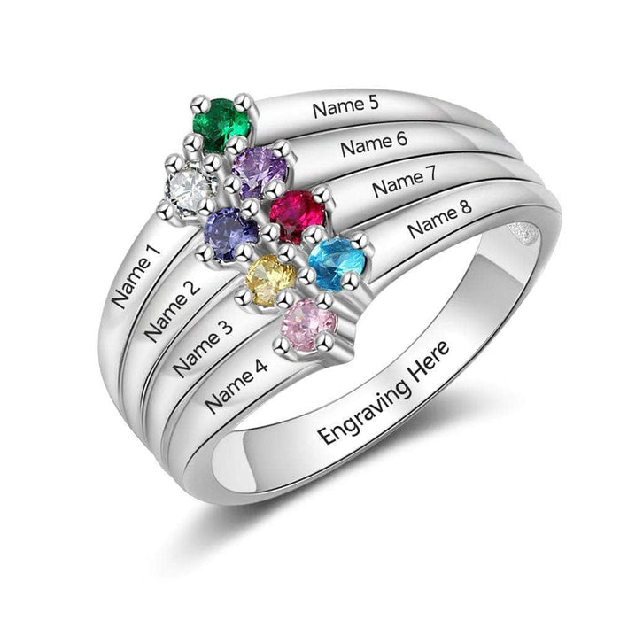 Sterling Silver 8 Name Birthstone & Engraved Ring