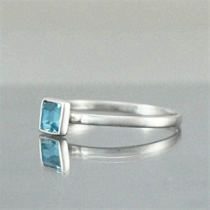 Silver Square Aquamarine Swarovski Crystal Ring