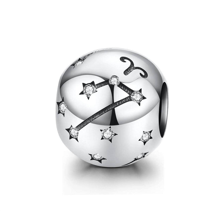 Silver Aries Star Sign Charm