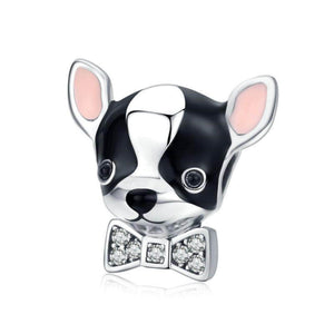 Silver Bow Puppy Charm