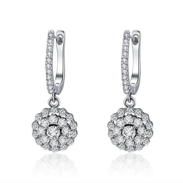 Rose CZ Drop Earrings