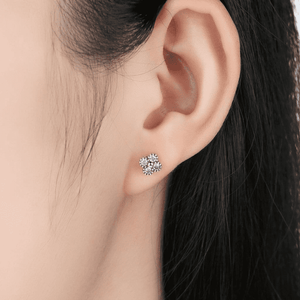 Silver Earrings |  Silver White cubic Flower Earrings (9634841170)