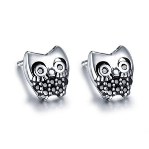 Silver Earrings |  Sterling Silver Owl stud (159351734290)