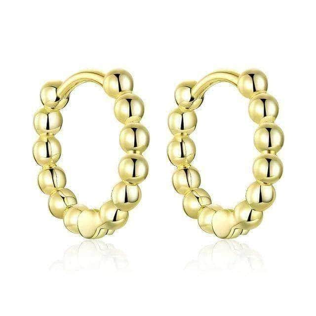 Silver Earrings-Small Ball Gold Hoops