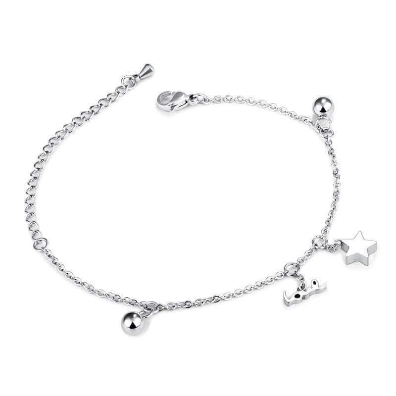 Silver Bracelets |  Silver Stainless Steel Love and stars Bracelet - mewe-jewelry.com