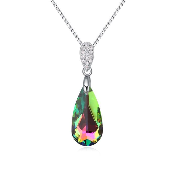 Silver Rainbow Green crystal Necklace
