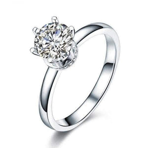 14K White Gold 1 Ct Moissanite Diamond 6 Claws Engagement Ring