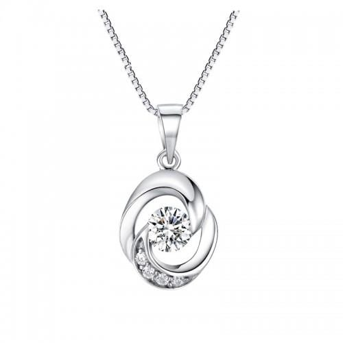 Silver Necklace-Crystal Multi stone Pendant