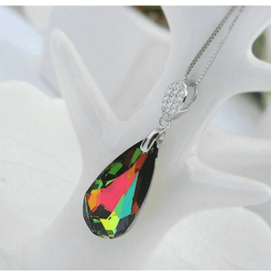 Necklaces silver multi studded green crystal pendant
