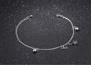Silver Bracelets |  Silver Stainless Steel Love and stars Bracelet