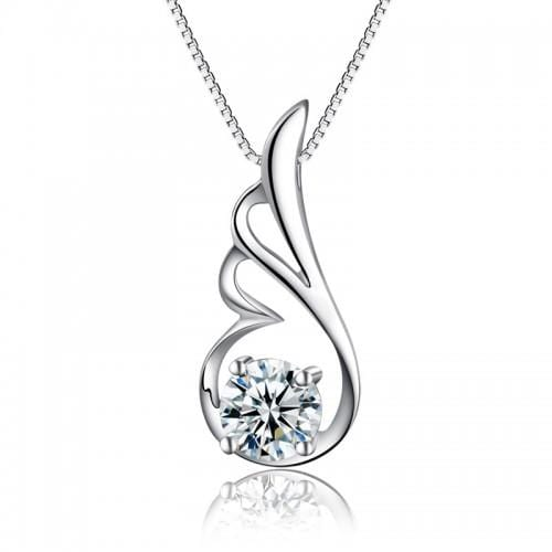 Sterling silver wing necklace pendant - mewe-jewelry.com