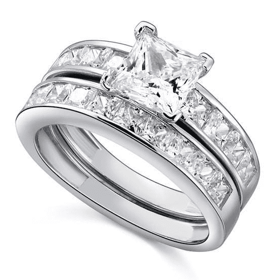 Silver Rings | Sterling Silver Princess Cut cubic zirconia 2-Pc Ring - mewe-jewelry.com