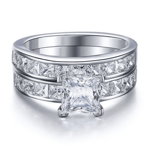 Silver Rings | Sterling Silver Princess Cut cubic zirconia 2-Pc Ring