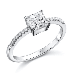 Silver Rings | Silver 1 Ct Princess Cut four prong solitaire Ring (10065966098)