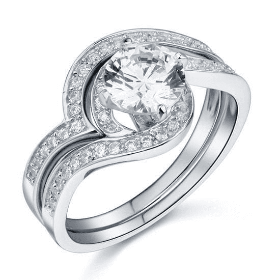 Silver Rings | Silver 1.25 Ct Princess Twist cubic zirconia Ring - mewe-jewelry.com