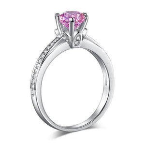 Silver Rings | Sterling silver Fancy Pink 1.25 Ct 6 Claws Ring