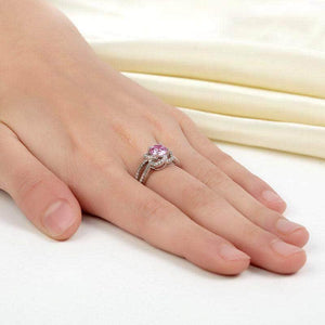 Silver Rings | Sterling Silver Pink Floral Ring