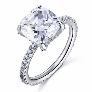 Sterling Silver Rings | 5 Ct Cushion Cut Simulated Diamond Engagement Ring (10348298258)