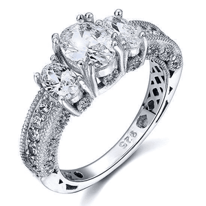 Silver Rings | Silver Vintage Style 2 ct Simulated Diamond Ring (10075584338)