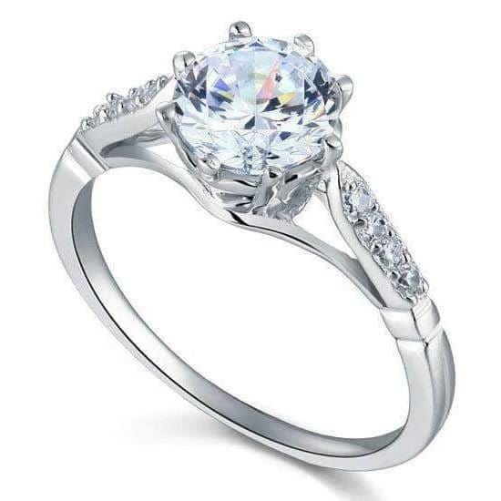 Silver Rings | Sterling Silver 2 Ct Cut Engagement Ring - mewe-jewelry.com
