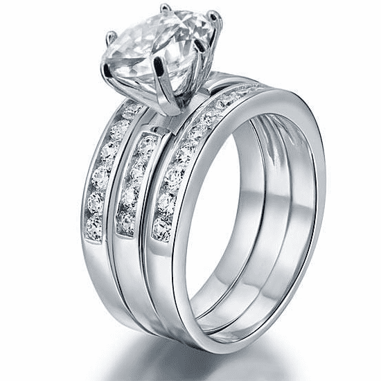 Silver Rings | Silver 2 Ct 3-Pcs Cut Simulated Diamond Ring - mewe-jewelry.com