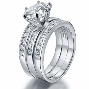 Silver Rings | Silver 2 Ct 3-Pcs Cut Simulated Diamond Ring